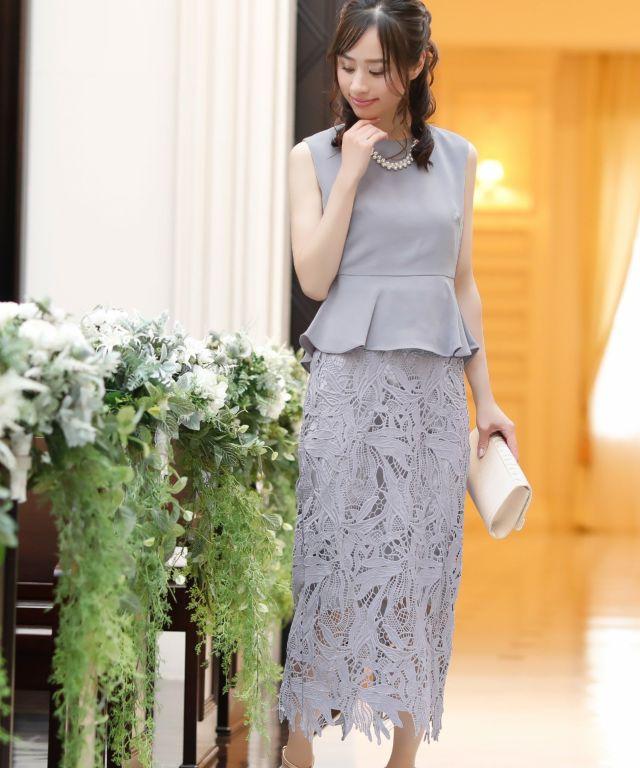 パーティードレス結婚式フォーマルお呼ばれ二次会卒業式入学式体型カバーレーススカート5分袖セットアップドレス(アイボリー/グレー/ワインレッド/ネイビー)Reticaレティカ